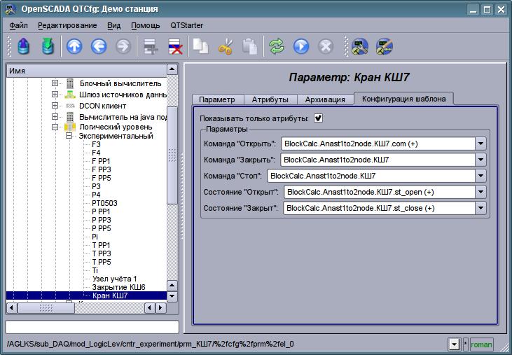 """Вкладка """"Конфигурация шаблона"""" параметра контроллера подсистемы """"Сбор данных"""". (74Кб)"""