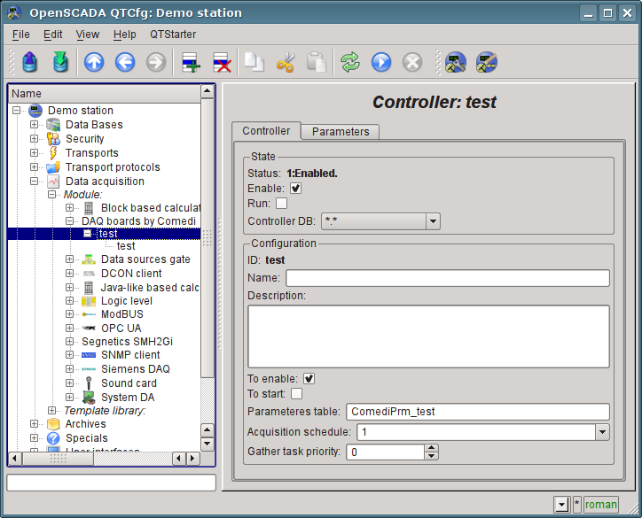 Configuration tab of the controller object. (100 Kb)
