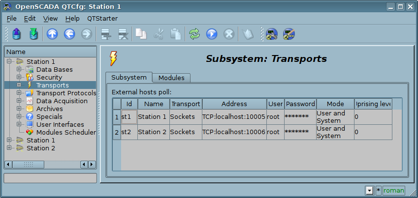 "The ""Subsystem"" tab of the ""Transports"" subsystem. (68 Кб)"