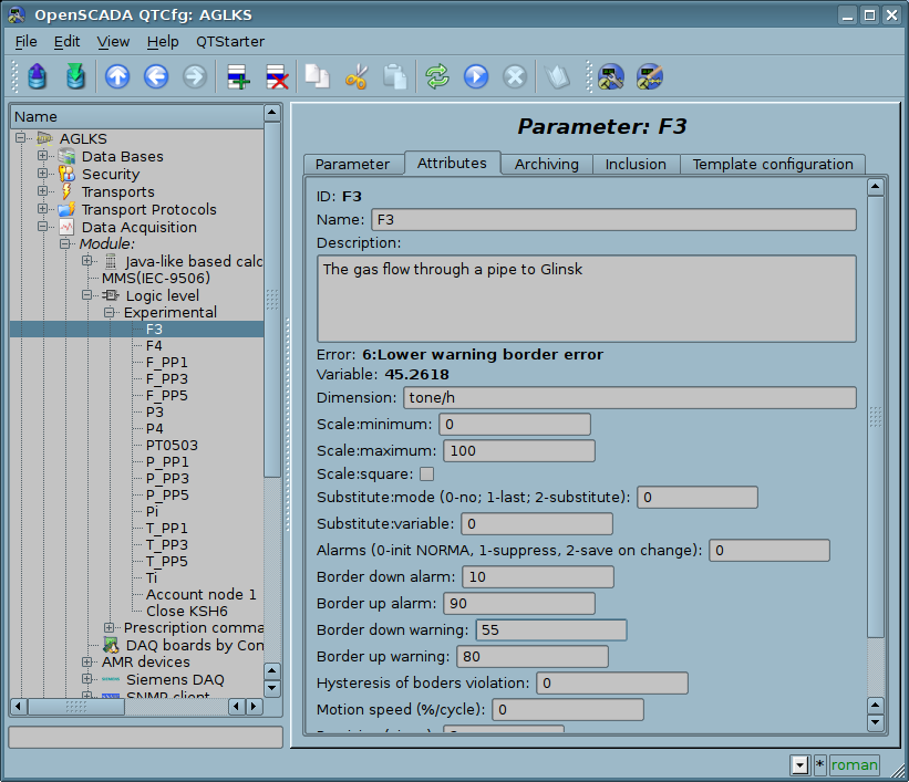 "The ""Attributes"" tab of the ""F3"" parameter of the logical level module. (110 Кб)"