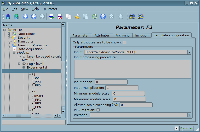 "The ""Template config"" tab of the ""F3"" parameter of the logic level module. (79 Кб)"