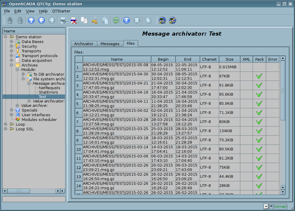 """Tab """"Files"""" of the messages archive object. (169Кб)"""