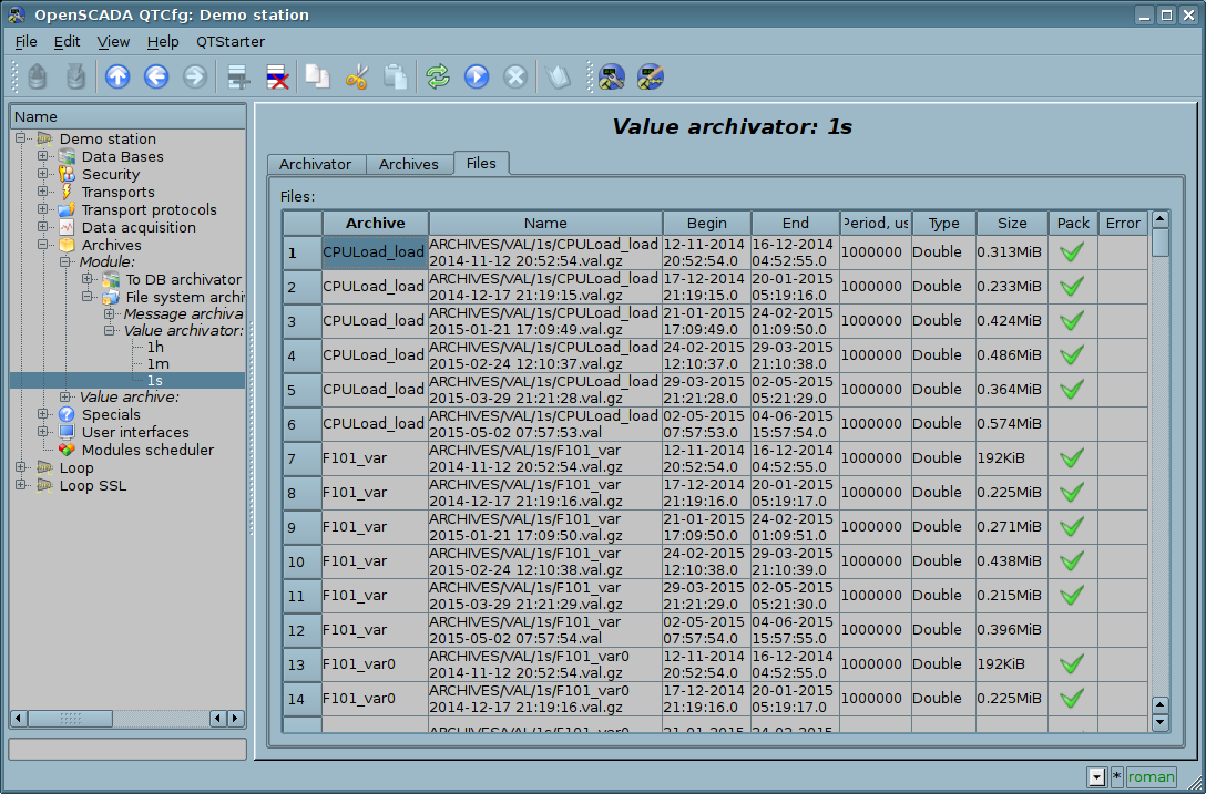 """Tab """"Files"""" of the values archivator object. (180Кб)"""