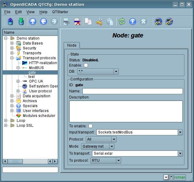 "The tab ""Node"" of the configuration page of the node of the protocol in the ""Gateway of the network"" mode. (71 Кб)"