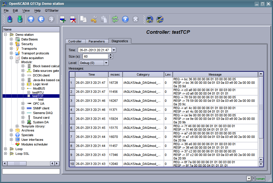 """""""Diagnostic"""" tab of configuration page of the controller of subsystem """"Data acquisition"""". (135Кб)"""