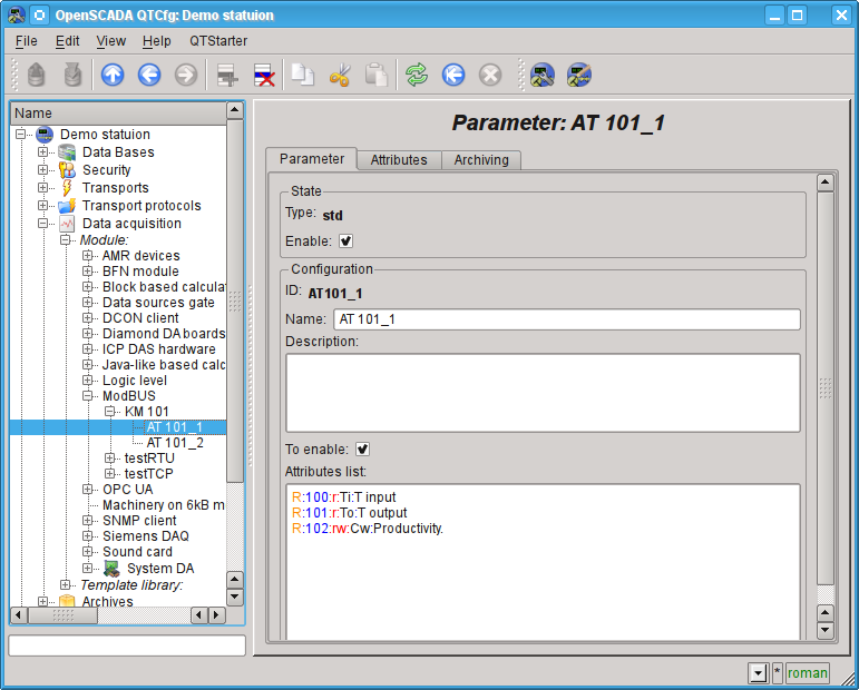 """Configuration page of the controller's parameter """"ModBUS"""". (96Кб)"""