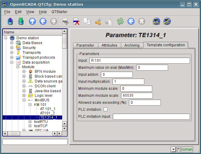"""The page of the template parameter """"TE1314_1"""" configuration of """"ModBus"""" module. (86Кб)"""