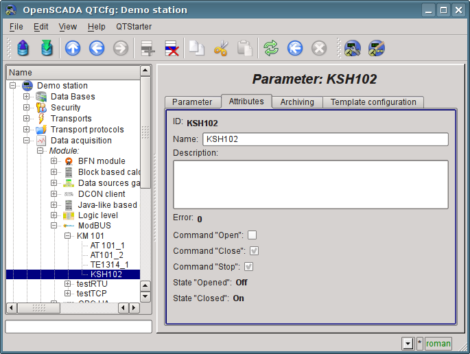 """The page of the attributes parameter """"KSH102"""" of """"ModBus"""" module. (85Кб)"""