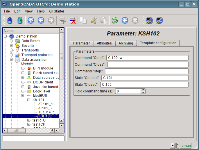 "The page of the template parameter ""KSH102"" configuration of ""ModBus"" module.\n (84 Кб)"