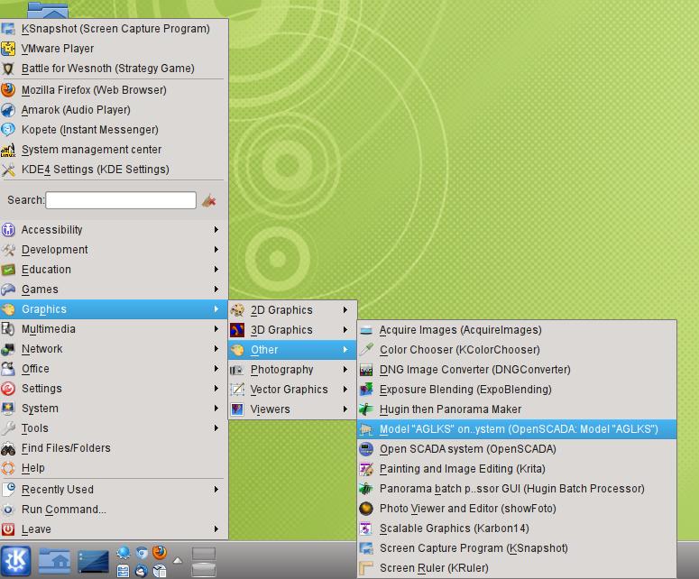 Menu item of the desktop environment to start the demonstration of OpenSCADA. (343Кб)