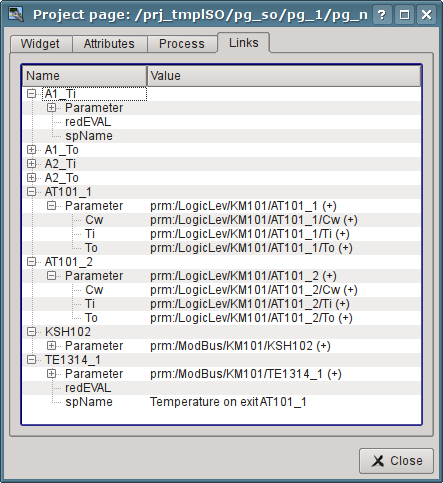"The ""Links"" tab of the dialog of editing the properties of the mnemonic scheme. (57 Кб)"