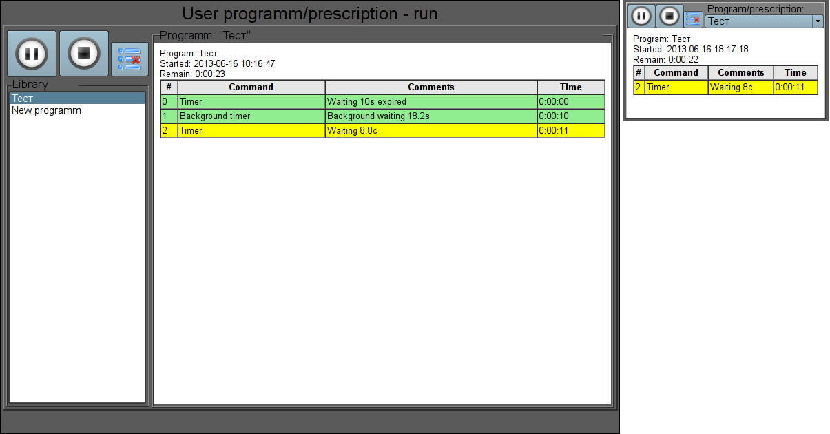 "The full-format and simplified ""Prescription: runtime"" frames in the runtime mode. (54 Кб)"
