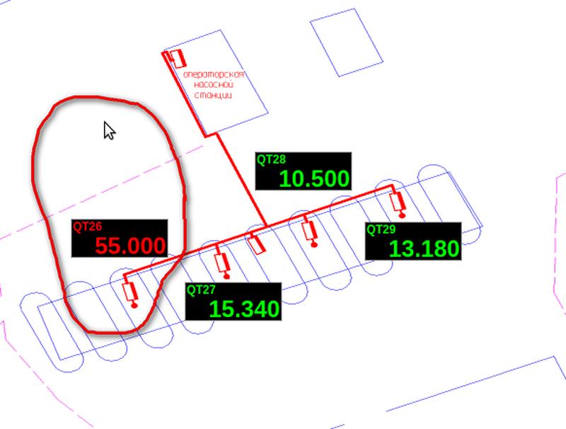 «Мнемосхема ПС5, АСН-5Н», сигнал датчика QT26=55.00 [%НКПР], что превышает аварийную уставку (50 [%НКПР]). Этап испытаний. (139Кб)